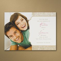 Burlap Border Save the Date. A burlap design along with your photo are shown on this ecru card.