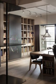 modern office with chalkboard wall