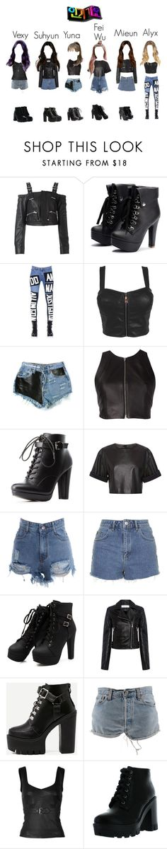 """""""Delicate - """"Voicemail"""" Debut Stage at Inkigayo"""" by delicate-official ❤ liked on Polyvore featuring Diesel Black Gold, Love Moschino, Levi's, T By Alexander Wang, Charlotte Russe, FAUSTO PUGLISI, Topshop, IRO, WithChic and McQ by Alexander McQueen"""
