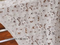 White Lace Fabric White Lace Cotton Lace Leaf by fabricmade