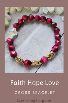 This beautiful Faith Hope Love Cross bracelet is inspired by bible verse 1 Corinthians 13:13. Keep this religious bracelet for yourself or give it as a gift to your Christian friends and loved ones. #faithhopelove #crossbracelet #religiousbracelet #christianbracelet #1corinthians13 Christian Bracelets, Christian Jewelry, Bracelets With Meaning, Love Bracelets, Gemstone Bracelets, Gemstone Jewelry, Beach Jewelry, Bridal Jewelry, Christian Friends