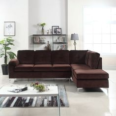 Brown Modern Tufted Brush Microfiber Sectional Sofa Large L-Shape Couch New #DivanoRomaFurniture #Modern