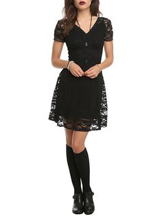 Royal Bones Black Lace Dress | Hot Topic