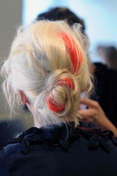 Blonde with red streak