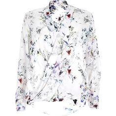 River Island White floral print wrap blouse (1 440 UAH) ❤ liked on Polyvore featuring tops, blouses, shirts, floral blouse, white wrap shirt, white long sleeve shirt, floral print shirt and wrap front blouse