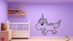 Wall Sticker Baby Unicorn With Lashes Coolest Decor For Kids Unique Gift Vinyl Wall Stickers, Wall Decals, Unicorn Kids, Custom Wall, Nursery Room, Interior And Exterior, Unique Gifts, Cool Stuff, Lashes