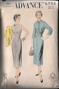 Vintage Advance 1950's Sheath Dress and by CircaSewingPatterns