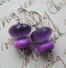 Grape AMETHYST and lavender SUGILITE in silver.