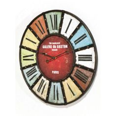 Colourful antique style informs the nostalgic aesthetic of the Galarie du Gaston wall clock, with thick roman numerals and bold iron struts creating a distinctive piece of wall decor. Kare Design, Gaston, Roman Numerals, Wall Colors, Designer, Retro Vintage, Wall Decor, Paris, Antiques