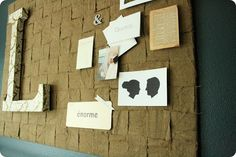 In bedroom: a woven pinboard with little things all to do with you and your hubs