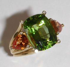 Mark Patterson Peridot, Mandarin Garnet and Diamond 3 Stone Ring.