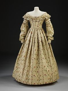Printed challis dress at the V in the style worn during the beginning of Queen Victoria's reign (1837-1840)