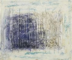 Artwork by Jean Fautrier, Construction Rectiligne, Made of oil and pigment on paper laid on canvas