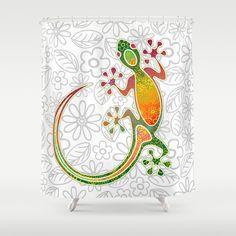 Gecko Floral Tribal Art Shower Curtain by Bluedarkat Lem - $68.00