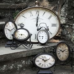 A collection of vintage-inspired clocks.
