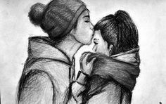 I love forehead kisses Cute Couple Drawings, Couple Sketch, Couple Art, Drawings Of Couples, Girl Sketch, Drawing Sketches, Art Drawings, Drawing Ideas, Sketching