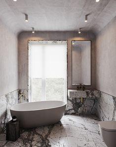 Bathroom Design Inspiration, Bad Inspiration, Bathroom Interior Design, Interior Decorating, Beautiful Bathrooms, Modern Bathroom, Concrete Stairs, Interiores Design, Interior Architecture