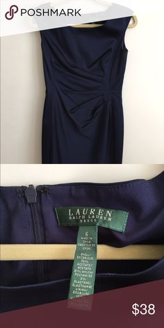 SALE! Midnight Blue Ralph Lauren Party Dress 🎉 Slimming Ralph Lauren party dress. Satin material but not too shiny. Twist side. Color is between midnight and navy blue. Any questions please ask! EUC. Color more accurate in first two photos. Ralph Lauren Dresses