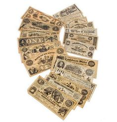 I would rather have the real thing but these are great reproductions of the originals. Eighteen different bank notes reproduced to look like the originals Confederate and Union paper money from the Civil War. Comes with (12) CSA banknotes and (6) USA banknotes. (Replica Civil War Paper Currency)