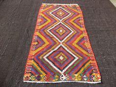 "Colorful Turkish Kilim Rug,3,7""x7"" Feet 110x215 Cm Handwoven Home Colorful Floor Decor Turkish Kilim Rug.Anatolian Area Kilim Rug."