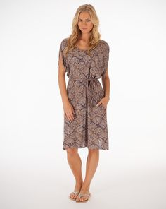 Gorgeous print, perfect coverup! V-Neck Shift Dress in Kelli Shells from Fresh Produce, made in USA