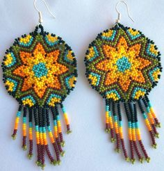 Huichol Star Beaded earrings by Aramara on Etsy Seed Bead Earrings, Beaded Earrings, Beaded Jewelry, Crochet Earrings, Collar Redondo, Beaded Flowers Patterns, Tapestry Crochet, Bead Art, Bead Weaving