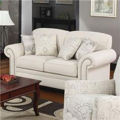 Norah Traditional Loveseat with Antique Inspired Detail - master bedroom love seat - purchase or reupholster?
