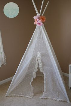 Shabby chic Polka dot lace teepee/play tent/reading nook