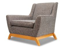 The Coolidge Chair in Cordova Eclipse Fabric with Honey Stained Wood by Thrive Furniture