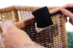 Wood stain on wicker storage baskets (use small bottle of Gel Stain instead)