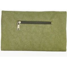 Boohoo Leah Zip Detail Fold Over Clutch Bag | Boohoo ($20) ❤ liked on Polyvore featuring bags, handbags, clutches, fold-over handbags, fold over purse, zipper purse, green clutches and fold-over clutches
