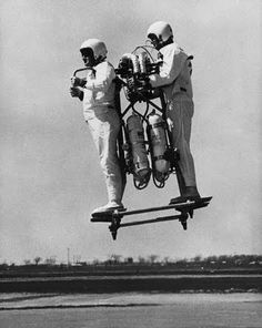 Developed by Bell Aerosystems, passenger William Burns and pilot Gordon Yaeger   test the 'Bell Pogo' rocket transport near Buffalo, New York, USA, 4th July 1967 @Cindy Yaeger O'Mara