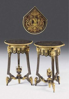 A PAIR OF FRENCH ORMOLU-MOUNTED AND BRASS-INLAID EBONY, BROWN TORTOISESHELL AND BLUE-STAINED HORN BOULLE TRIPOD TABLES -  AFTER THE MODEL BY ANDRÉ-CHARLES BOULLE, MID-19TH CENTURY