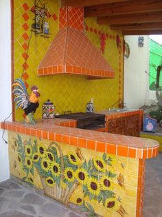 Mexican Tile In BBQ Area Showing a Rangehood, Mexican Home Decor Gallery. Mission Accesories, Copper Sinks, Mirrors, Tables And Mexican Style Kitchens, Mexican Kitchen Decor, Mexican Home Decor, Mexican Bedroom, Mexican Patio, Mexican Tiles, Mexican Garden, Outdoor Kitchen Design, Outdoor Kitchens