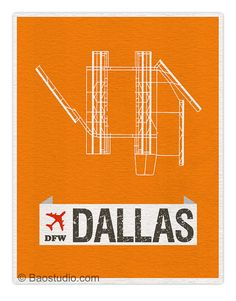 Fly me to Dallas DFW -  World Traveler Series Dallas Fort Worth Texas International Airport Code Runway Map Art Print Poster