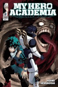 """"""" My Hero Academia (Shonen Jump Manga Series; Volume Six, Struggling) by Kohei Horikoshi In the aftermath of the sports festival, the Class 1-A students begin their internships. Midoriya goes to study under Gran Torino, who was once All Might's mentor. Gran Torino appears to be a washed-up nutjob, but the old hero still has more moves than a football team, and Midoriya has a lot to learn! Elsewhere, the League of Villains enacts another sinister plot and unleashes a terrifying new enemy! """""""