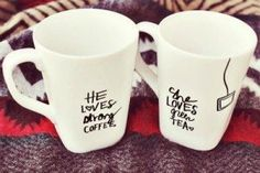 His And Hers Coffee And Tea Mugs