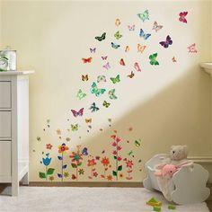 Flower & Butterfly Wall Stickers Set