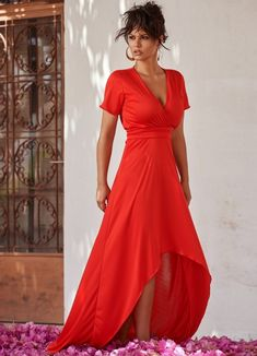 maxi ασύμμετρο φόρεμα κοντομάνικο by Maria Korinthiou collection Asymmetrical Dress, Wrap Dress, Short Sleeve Dresses, Formal, Red, Clothes, Collection, Women, Style