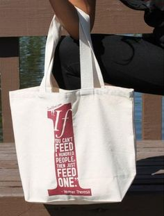"""Poverty. In this tote you can show one of Mother Teresa's most powerful quotes, """"If you can't feed a hundred people, then just feed one.""""   8 dollars goes to the charity of your choice!  http://causeurgood.com/fashion-accessories    #poverty #hunger #cause #charity #poor #hungry #feed #totebag #motherteresa #help #need"""