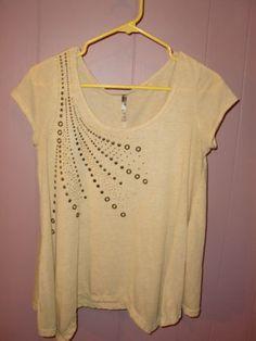 LYT Bling Western Rivet Studs Cowgirl Women's Shirt Top Blouse Size Medium Large | eBay