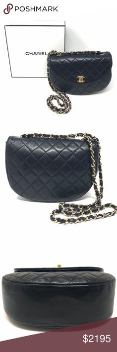 916654505af1 CHANEL Blue Leather Half Moon Crossbody Bag 100% Authentic Pre-owned.  Overall Condition