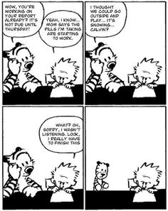 'The last Calvin and Hobbes comic ever.'  This is a fake, but still interesting.
