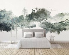 Bedroom Murals, Bedroom Layouts, Home Bedroom, Bedroom Wall, Wall Murals, Bedroom Ideas, Living Room Furniture Layout, Living Room Designs, Contemporary Bedroom