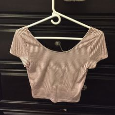 American Eagle Crop top Maroon and white striped crop top! Good condition American Eagle Outfitters Tops Crop Tops