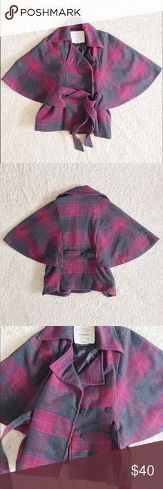 Anthropologie Plaid Poncho Coat Beautiful and chic poncho coat from Anthropologie. Gray, purple, and red plaid pattern. Made from a soft wool blend. 4 snap buttons in the front and a tie at the waist. Perfect condition! Only worn once. Anthropologie Jackets & Coats Capes