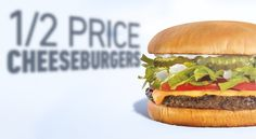 ½ price Cheeseburgers at Sonic today!  Single-patty cheeseburgers only. Tax not included. Add-ons cost extra. Cannot be combined with other offers. Offer valid 2/2/16 at participating SONIC Drive-Ins while supplies last.