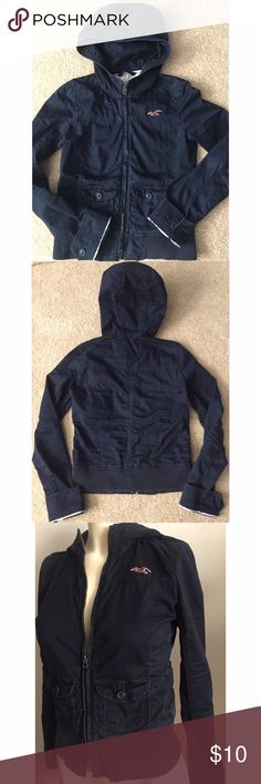"""Hollister blue cargo utility hoodie jacket S Fits like a bomber jacket! Oldie but a goodie, cotton so very comfortable. Hollister always runs small so I would say XS or size 2. This is too small for me now I am a size 4. Pit to pit 17"""". Length 20.5"""". Priced to sell!! NO OFFERS. It's in good used condition! No stains no tears. Hollister Jackets & Coats Utility Jackets"""