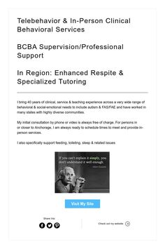 Telebehavior & In-Person Clinical Behavioral Services     BCBA Supervision/Professional Support     In Region: Enhanced Respite & Specialized Tutoring