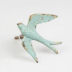 Vintage Chic Flying Swallow Drawer Handle Bird Cupboard Knob Door Pull - Distressed Duck Egg Blue